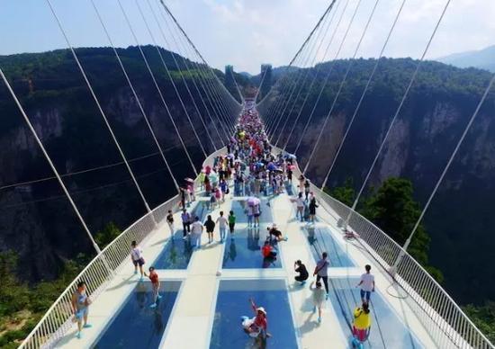张家界世界最高最长玻璃人行桥开了 你敢去吗?
