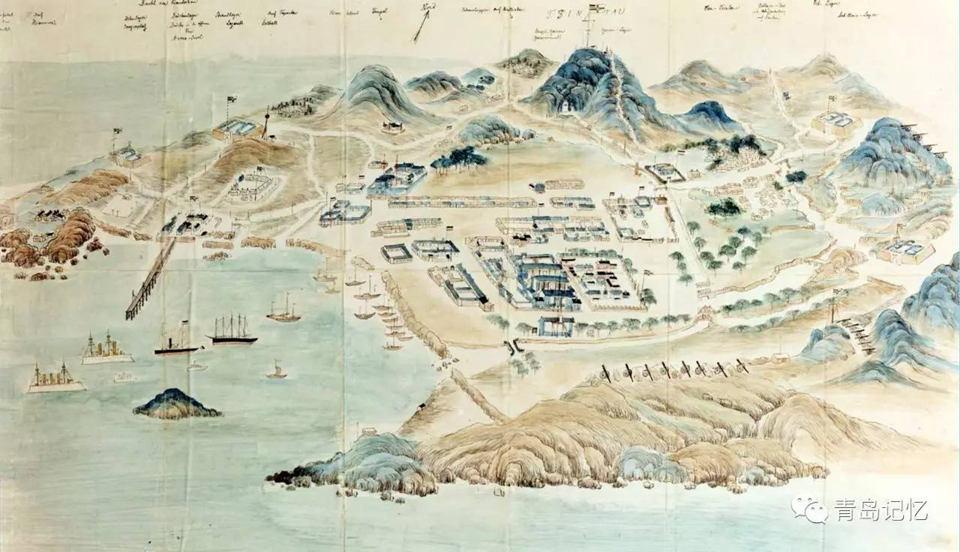 【图】解读1898年的《青岛写景图》:总兵衙门 栈桥 天后宫