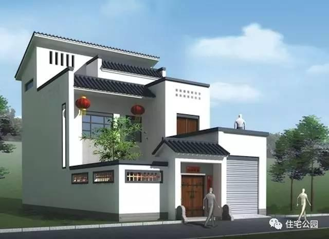 9米宽农村宅地,自建3层新中式别墅,庭院车库露台还都有